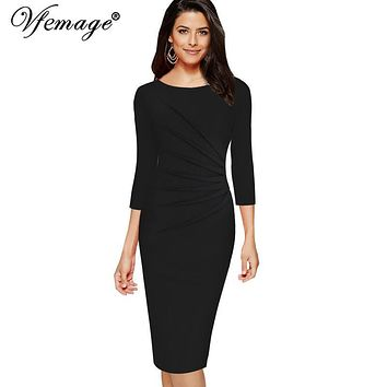 Vfemage Womens Elegant 3/4 Sleeves Ruched Vintage Pinup Slim Wear To Work Business Party Church Bodycon Pencil Sheath Dress 8100