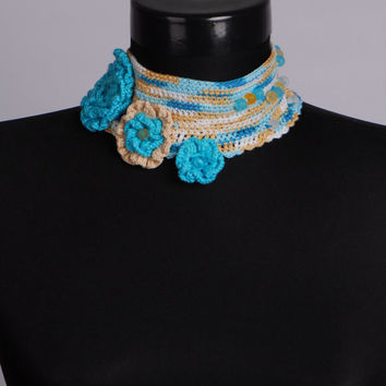 Crochet choker,Crochet jewelry,Crochet flowers,Blue necklace,Unique Necklaces For Women,Crochet bracelet,Crochet earrings,Crochet ring,Gift