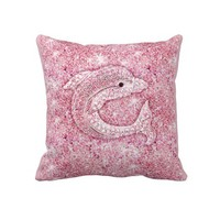 Cute dolphin, glitter pink photo print throw pillows from Zazzle.com