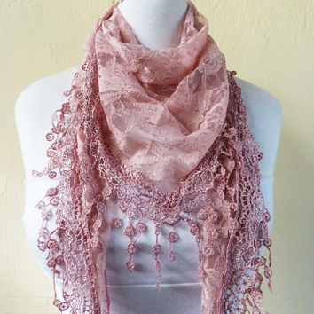 Womens scarf ANTIQUE ROSE with floral pattern / silver highlights / richly fringed edge - scarflette shawl neckwarmer - Spring / Summer