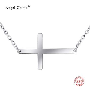 Horizontal Sideways Cross Pendants Necklaces 100% Real Pure 925 Sterling Silver Necklace Fashion Jewelry Collares Mujer