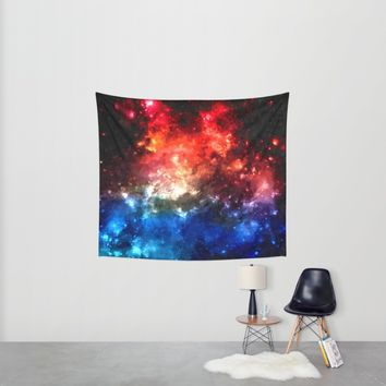 Colorful galaxy, blue and red nebula, space themed pattern, oil paint Wall Tapestry by Peter Reiss