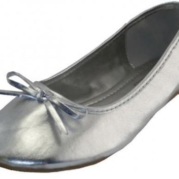 Women's Metallic Silver Ballerina Shoe (Size 6-11) - CASE OF 18