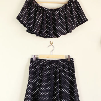 SALE Altered Black and White Polka Dot Twin Set with Frill Crop and Full Skirt 90s Cute Lolita 60s 70s 80s