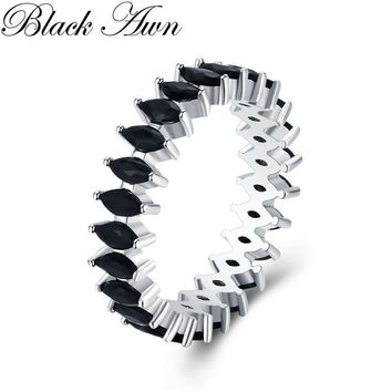 Trendy 3.2g 925 Sterling Silver Fine Jewelry Baguet Row Engagement Black Spinel Wedding Rings for Women G018