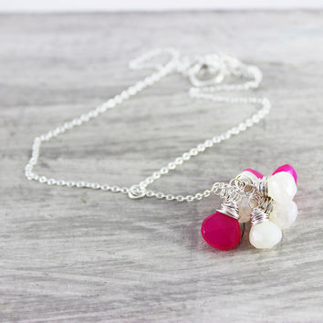 Pink Pearl Necklace, Sterling Silver Necklace, Delicate Necklace, Wire Wrap Necklace, Y Necklace, Hot Pink Chalcedony, Pearl Chalcedony