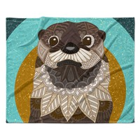 "Art Love Passion ""Otter in Water"" Blue Brown Fleece Throw Blanket"