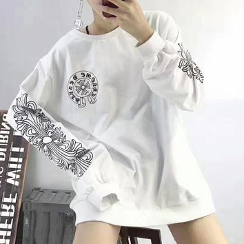 """Chrome Hearts"" Fashion Personality   Retro Letter Pattern Print Long Sleeve Women Sweater Tops"