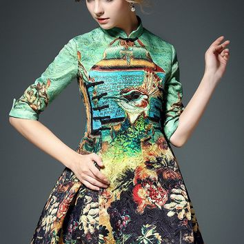 Peacock Print Jacquard Dress