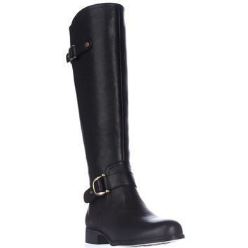 naturalizer Jersey Knee High Riding Boots, Black Leather, 5 US