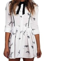 White Print Dress Casual Tunic Women Cute Mini Dresses Ladies Long Sleeve Dragonfly Print Dress