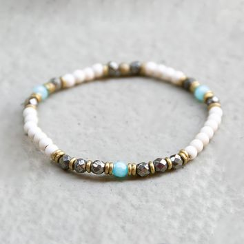 Howlite, Pyrite, and Amazonite Delicate Bracelet