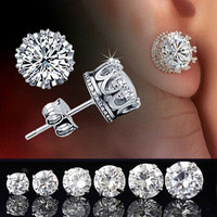 Fashion Elegant Women's Retro Classical 925 Silver Crystal Crown Ear Stud Earrings Jewelry = 1958276868
