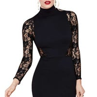 Lace Splicing Turtle Neck Dress