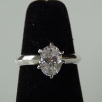 Sterling Silver Stamped 925 Cubic Zirconia CZ Oval Ring Size 8.5