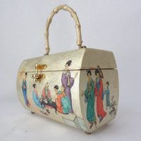 Asian box purse vintage jewelry storage box container