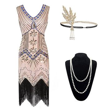 Vintager 1920s Zelda Sequined Art Nouveau Embellished Fringed Flapper Dress