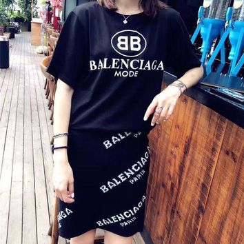ONETOW balenciaga fashion casual letter pattern short sleeve knit short skirt set two