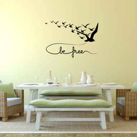 Be Free with Flying Birds Vinyl Wall Words Decal Sticker