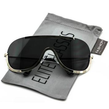 NEW Elite OVERSIZED XX Large SHIELD Half Face Large Size Black Gold Sun Glasses