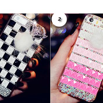 iPhone 6 Plus, 6, 5/5S, 5C - Foxy Fur 3D Bling Crystal Case in Assorted Colors
