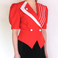 80's red blouse, power shoulders jacket, short sleeve uniform red and white short sleeve blazer bold kitsch, pop, geometric, double breasted