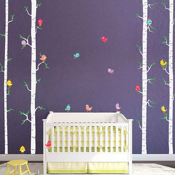 Birch decals trees wall decals Birds wall decals decals Woodland wall decals for Nursery foliage Wall Decals kids wall decal kcik1783
