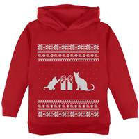 Cats Ugly Christmas Sweater Red Toddler Hoodie