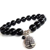 Tree of Life Mala Bracelet Yoga Jewelry Mother Earth Wisdom Agate Spiritual Healing Black Etsy Unique Gift for Her or Him Under 30 Item Y113