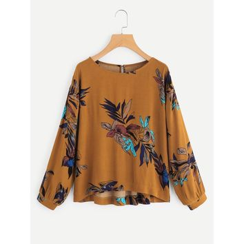 Yellow Round Neck Long Sleeve Blouse