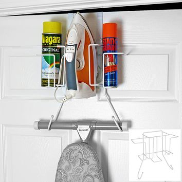 Evelots Ironing Board Holder-Over Door/No Tool or Wall Mount-Iron/Bottle Baskets