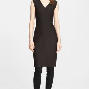 Women's St. John Collection Leather Trim Diamond Knit Sheath Dress,