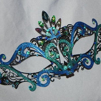 Teal and Turquoise Made to Order Metallic Masquerade Mask