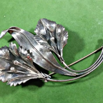 Antique Silver Flower Brooch Marked STERLING Art Nouveau Turn of the Century Sterling Silver Statement Piece Stand Out in the Crowd