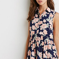 Floral Print Buttoned Babydoll Dress