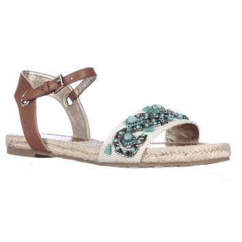 Ivanka Trump Cissa Espadrille Gem Flat Sandals - Green Multi