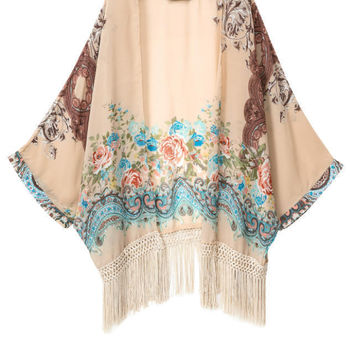 Autumn Print Tassels Jacket [5013167748]