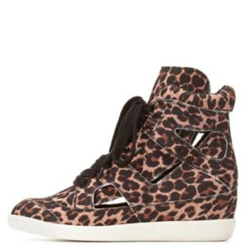 Leopard Printed Hi-Top Wedge Sneaker