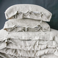 LINEN DUVET COVER set of duvet cover and pillowcases with ties. Natural French linen bedding set. MOOshop new *10