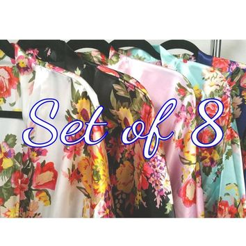 Set of 8 Floral Bridesmaid Robes - Kimono