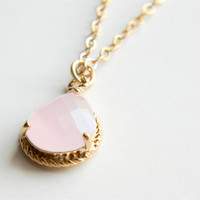 "Opaque Pink Faceted Glass Stone Pendant on 24"" Matte Gold Chain Necklace"