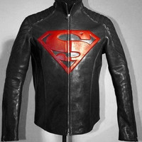 Men Leather Jacket, Superman Movie Men Classic Black & Red Stylish Leather Biker Jacket, Men Black Leather Motorcycle Jacket. = 1945931972