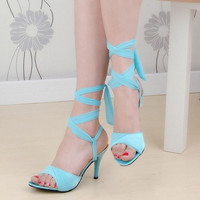 Gladiator Sandals Ladies High Heel Shoes Women Sandals Cross Strap Sexy Party Heeled Heels Shoes Footwear Size 31-43 PA00301