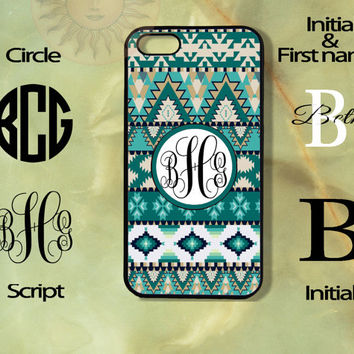 Monogram Blue Aztec Pattern-iPhone 5, 5s, 5c, 4s, 4 case, Ipod touch 5, Samsung GS3, GS4 case-Silicone Rubber or Hard Plas