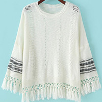 White Long Sleeve Fringed Knit Sweater