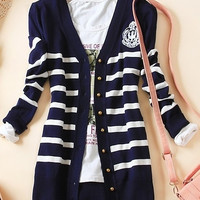 new spring women's overcoat Korean version commuting long sleeve slim stripe knit cardigan the wind sea soul