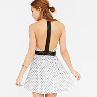 White Floral Print Halter with Lace Back Strap Dress