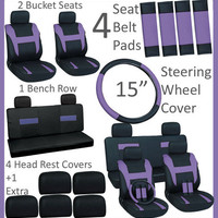 17pc Set Purple Black Auto Car Seat Cover Steering Wheel-Belt Pad-Head Rest