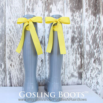 Monogram, Rain boots, Gray, Bows, Yellow