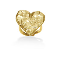 Gold-Tone Metal Heart Adjustable  Ring